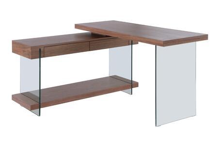 6920-DSK-WAL Rotatable Veneer Wooden Desk with 2 Drawers & Shelf in