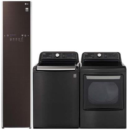 Top Load Smart WT7900HBA 27″ Washer with Front Load DLEX7900BE 27″ Electric Dryer and S3RFBN 17″ Styler in Black