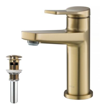 Indy Series KBF-1401BG-PU-11BG Single Handle Bathroom Faucet and Pop Up Drain with Overflow in Brushed