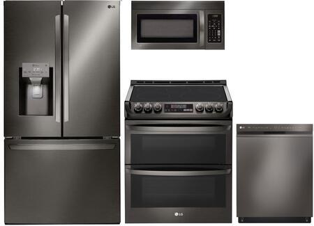 4 Piece Kitchen Appliances Package with LFXS26973D 36″ French Door Refrigerator  LDE4415BD 30″ Electric Range  LMV1831BD 30″ Over the Range Microwave