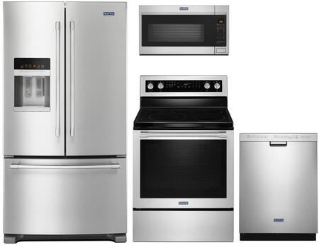 4 Piece Kitchen Appliances Package with MFI2570FEZ 36″ French Door Refrigerator  MER8800FZ 30″ Electric Range  MMV5220FZ 30″ Over the Range Microwave