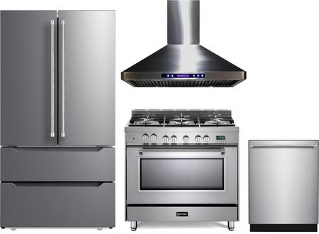4 Piece Kitchen Appliances Package with VERF36CDSS 36″ French Door Refrigerator  VPFSGE365SS 36″ Dual Fuel Range  VEHOOD36CH 36″ Wall Mount Range