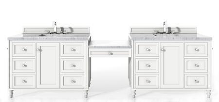 Copper Cove Encore Collection 301-V122-BW-DU-3CAR 122″ Double Vanity Set  Bright White with Makeup Table  3 CM Carrara Marble