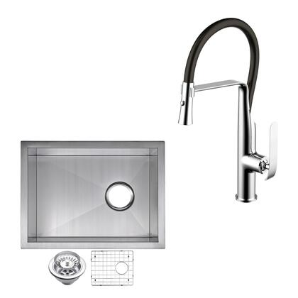 CF511-US-1520A 15″ X 20″ Zero Radius Single Bowl Stainless Steel Hand Made Undermount Bar Sink With Drain  Strainer  Bottom Grid  And Single Hole