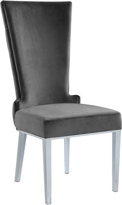 Serafina 729GREY-C 37″ Dining Chair (Set of 2) with Button Tufting  Rich Chrome Metal Legs and Velvet Upholstery in