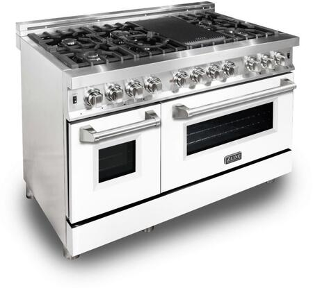 """RA-WM-48 48"""" White Matte Professional Natural Gas Dual Fuel Range with 6 Italian Burners 6 cu. ft. Capacity Oven Griddle Convection Cast Iron"""