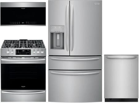 4 Piece Kitchen Appliances Package with FG4H2272UF 36″ French Door Refrigerator  FGGH3047VF 30″ Slide-in Gas Range  FGMV176NTF 30″ Over the Range