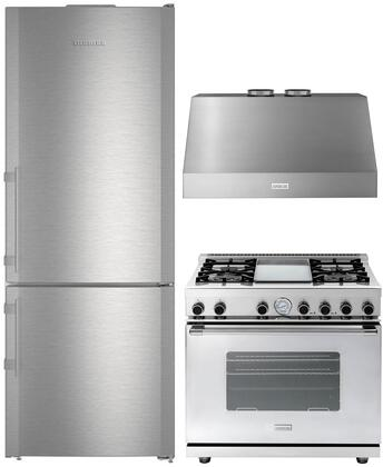 """3 Piece Kitchen Appliances Package with CBS1660 30"""" Bottom Freezer Refrigerator RN301GCSSL 30"""" Gas Range and HP301SSS 30"""" Wall Mount Convertible"""