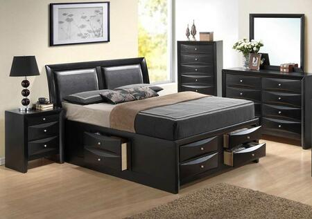 Glory Furniture G1500i Ksb4bdmnc 5 Piece Bedroom Set With King Size Storage Bed Dresser Mirror Single Nightstand Chest In Black Appliances Connection
