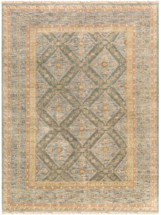 Zeus ZEU-7826 9′ x 13′ Rectangle Traditional Rugs in Sage  Denim  Khaki