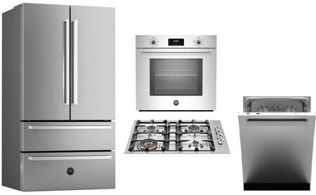 """4-Piece Kitchen Appliance Package with REF36X 36"""" French Door Refrigerator QB30400X 30"""" Gas Cooktop PROFS30XV 30"""" Electric Single Wall Oven and"""