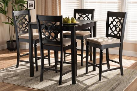 RH322P-SAND/DARKBROWN-5PCPUBSET Arden Modern and Contemporary Sand Fabric Upholstered Espresso Brown Finished 5-Piece Wood Pub