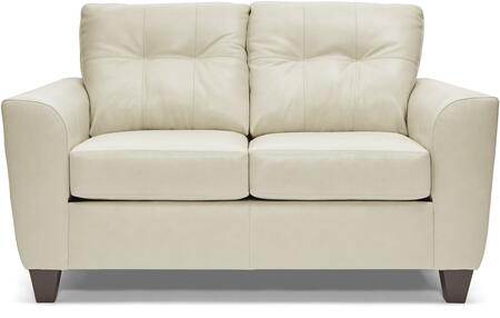 2024-02 SOFT TOUCH CREAM 64″ Loveseat with Tufted Back Cushions and Leather Upholstery in