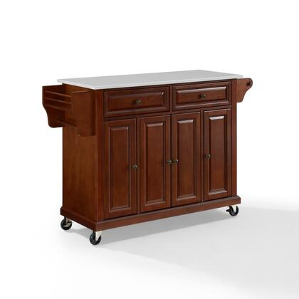 Full Size Kitchen Collection KF30005EMA Full Size Granite Top Kitchen Cart in Mahogany