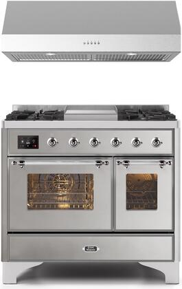 2 Piece Kitchen Appliances Package with UMD10FDNS3SSC 40″ Dual Fuel Gas Range and LUCCA40 40″ Under Cabinet Convertible Hood in Stainless