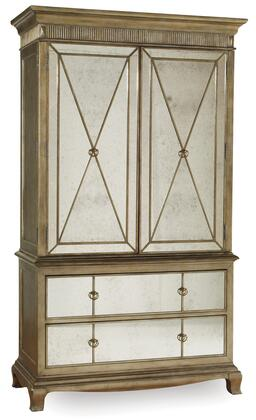 """Sanctuary Collection 3016-90013 52"""" Armoire with Two Doors Two Self Closing Drawers and Mirrored Front in"""