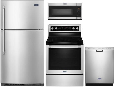 4 Piece Kitchen Appliances Package with MRT711SMFZ 33″ Top Freezer Refrigerator  MER8800FZ 30″ Electric Range  MMV5220FZ 30″ Over the Range Microwave
