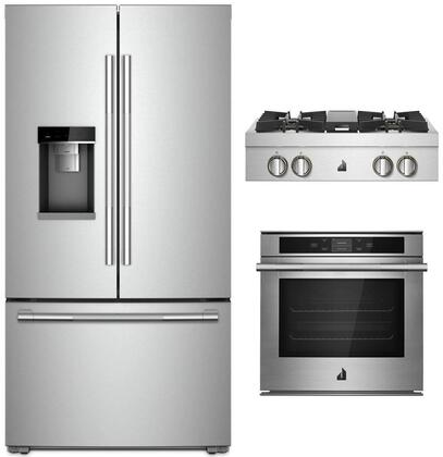 """3 Piece RISE Series Kitchen Appliances Package with JFFCC72EHL 36"""" Smart French Door Refrigerator JJW2424HL 24"""" Smart Electric Single Wall Oven and"""