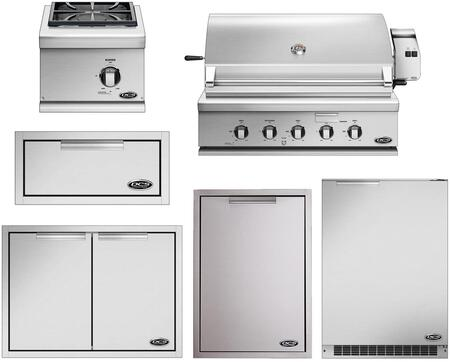 6 Piece Outdoor Kitchen Island Package with 36″ Gas Grill  15″ Gas Side Burner  20″ Storage Drawer  24″ Compact Refrigerator  Trash Drawer and 30″