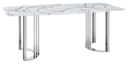 131DININGTABLESS 79″ Dining Table with Marble Top and Stainless Steel Base in