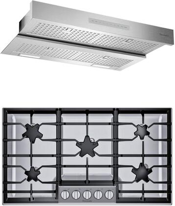 2 Piece Kitchen Appliances Package with SGSXP365TS 36″ Gas Cooktop and HMDW36WS 36″ Under Cabinet Insert Hood in Stainless