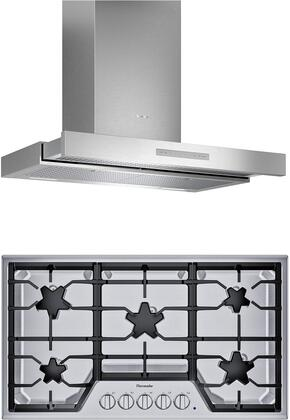 2 Piece Kitchen Appliances Package with SGS365TS 36″ Gas Cooktop and HDDB36WS 36″ Wall Mount Convertible Hood in Stainless
