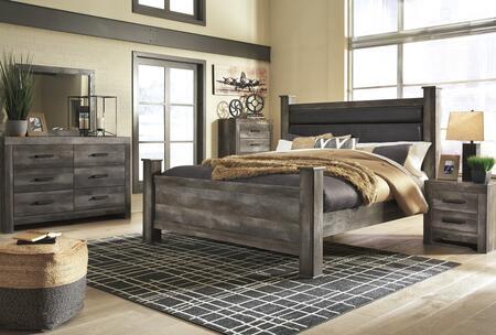 B440QPBCHDMN 5-Piece Bedroom Set with Queen Size Panel Bed + Chest Drawer + Dresser + Mirror + Nightstand  in
