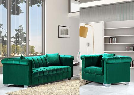 Meridian Kayla 6152PCARMKIT3 Living Room Set Green, 2 PC Set