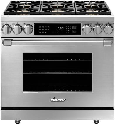 """Dacor Professional HDPR36SNG Freestanding Dual Fuel Range Stainless Steel, HDPR36SNG 36"""" Heritage Series Natural Gas Pro Dual Fuel Range"""