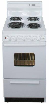 Premier EAK220OP Freestanding Electric Range White, A Front View of the Range