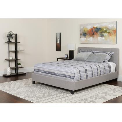 HG-BMF-27-GG Tribeca Queen Size Tufted Upholstered Platform Bed in Light Gray Fabric with Memory Foam