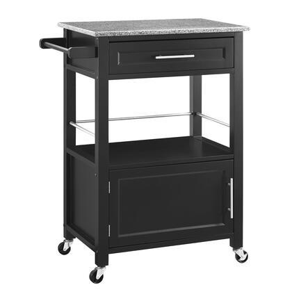 Linon Mitchell 464808BLK01U Kitchen Cart, 464808BLK01U Mitchell Black Kitchen Cart with Granite Top