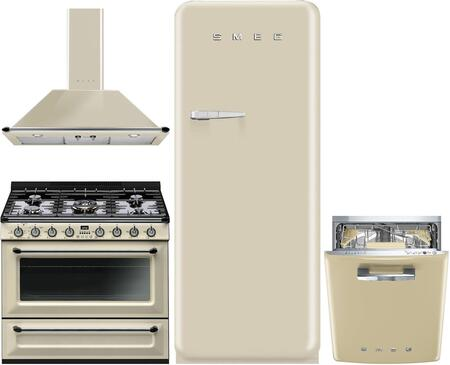 Smeg 974733 4 piece Cream Kitchen Appliances Package
