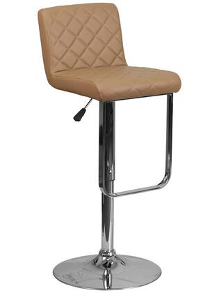 DS-8101-CAP-GG 35-43 Vinyl Upholstered Barstool with Adjustable Height  Chrome Base and Quilted Design Seat and Back Cushion in