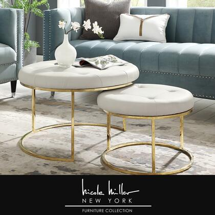 Aaden Collection NON106-01WG-AC Ottoman with Nesting  Stainless Steel Polished Base and PU Leather Upholstery in White and Gold