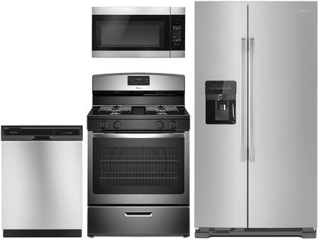 Amana 4 Piece Kitchen Appliances Package With Asi2575grs 36 Inch Side By Side Refrigerator Agr5330bas 30 Inch Gas Range Amv2307pfs 30 Inch Over The Range Microwave And Adb1400ags 24 Inch Built In