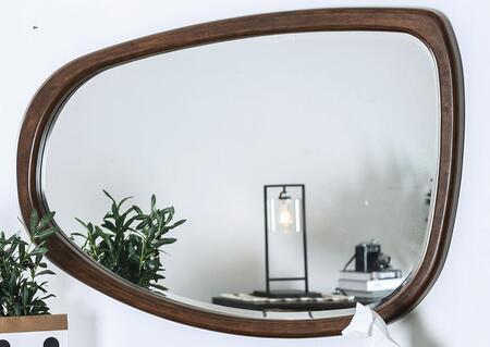 CM7363IM Curved Mirror with Split Wood Plank Frame in Dark Oak/Dark