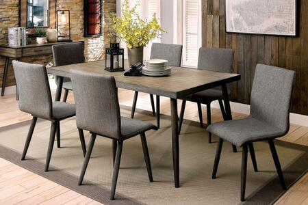 Furniture of America Vilhelm I CM3360T6SC Dining Room Set Gray, main image