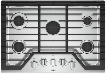 "Whirlpool WCG77US0HS 30"" Stainless 5 Burner Gas Cooktop"