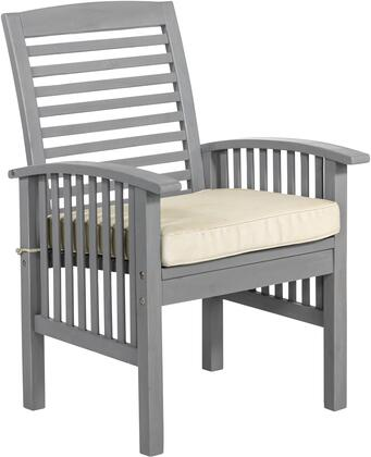 OWC2GW Acacia Wood Patio Chairs with Cushions Set of 2 in Grey