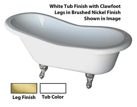 Barclay  ADTS60WHPB Bath Tub White, White Tub Finish with Clawfoot Legs in Brushed Nickel Finish Shown