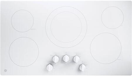 """GE JP3036TLWW 36"""" Electric Cooktop with 5 Elements, Smoothtop Style, Keep Warm Zone, Hot Indicator, ADA Compliant, UL Safety Listed, Glass Ceramic Surface"""
