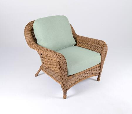 Sea Pines Collection LEX-C1-M-RAVES Club Chair in Mojave Wicker and Rave Spearmint Fabric