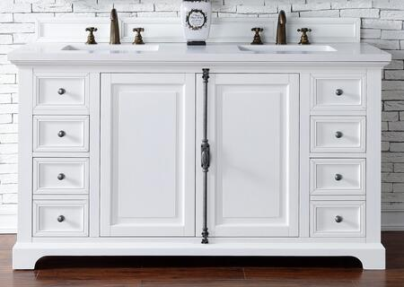 Providence Collection 238-105-V60D-CWH-3CLW 60″ Double Vanity Cabinet  Cottage White  with 3 CM Classic White Quartz Top with