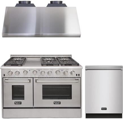"""3-Piece Kitchen Appliances Package with KRG4804U 48"""" Gas Range KRH4805U 48"""" Under Cabinet Ducted Hood and K6502D 24"""" Dishwasher in Stainless"""