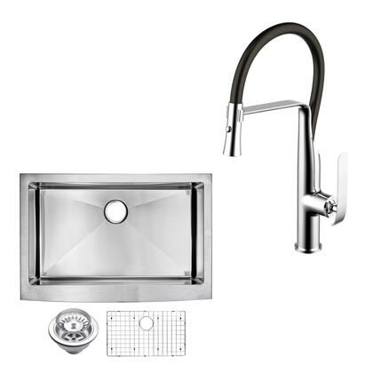 CF511-AS-3322B 33″ X 22″ 15mm Corner Radius Single Bowl Stainless Steel Hand Made Apron Front Kitchen Sink With Drain  Strainer  Bottom Grid  And