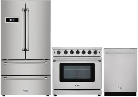 """3-Piece Kitchen Appliances Package With HRF3601F 36"""" French Door Refrigerator LRG3601U 36"""" Gas Freestanding Range and HDW2401SS 24"""" Built In"""