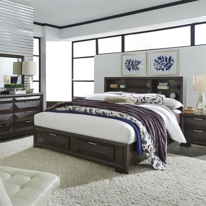 Liberty Furniture 148-BR-KSBDMN 4 Piece Bedroom Set with King Size Storage Bed  Dresser and Mirror  Nightstand in Cappuccino