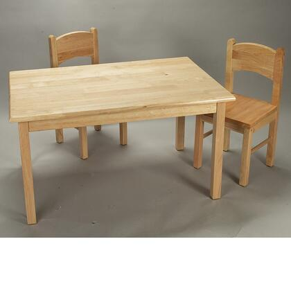 1406N Natural Hardwood Rectangle Table and Set of Two Chairs with Simple Design and Lightweight in