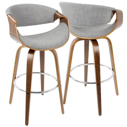 Curvo Collection B30-CRVNIRWLGY2 Set of 2 Bar Height Stool with Curved Bentwood Armrests  Mid-Century Modern Style  360-Degree Swivel Seat and Woven